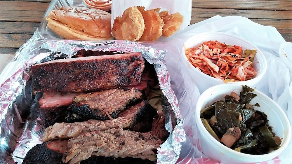 heirloom market bbq ribs brisket kimchi cole slaw sweet potatos collard greens georgia